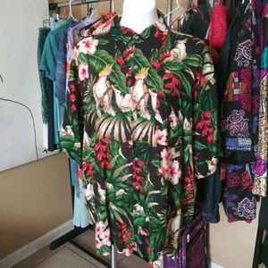 Multi Colored Floral Bird Button Down Shirt